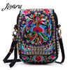 Ethnic Embroidery Bag Vintage National Embroidered Canvas Mobile Phone Small Coins Purse Bags Shoulder Sling Bags