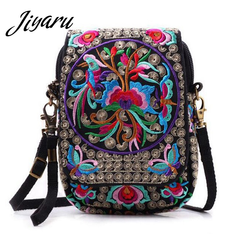 Boho Ethnic Embroidery Bag Vintage National Embroidered Canvas Mobile Phone Small Coins Purse Bags Shoulder Messenger Bags Bolsa