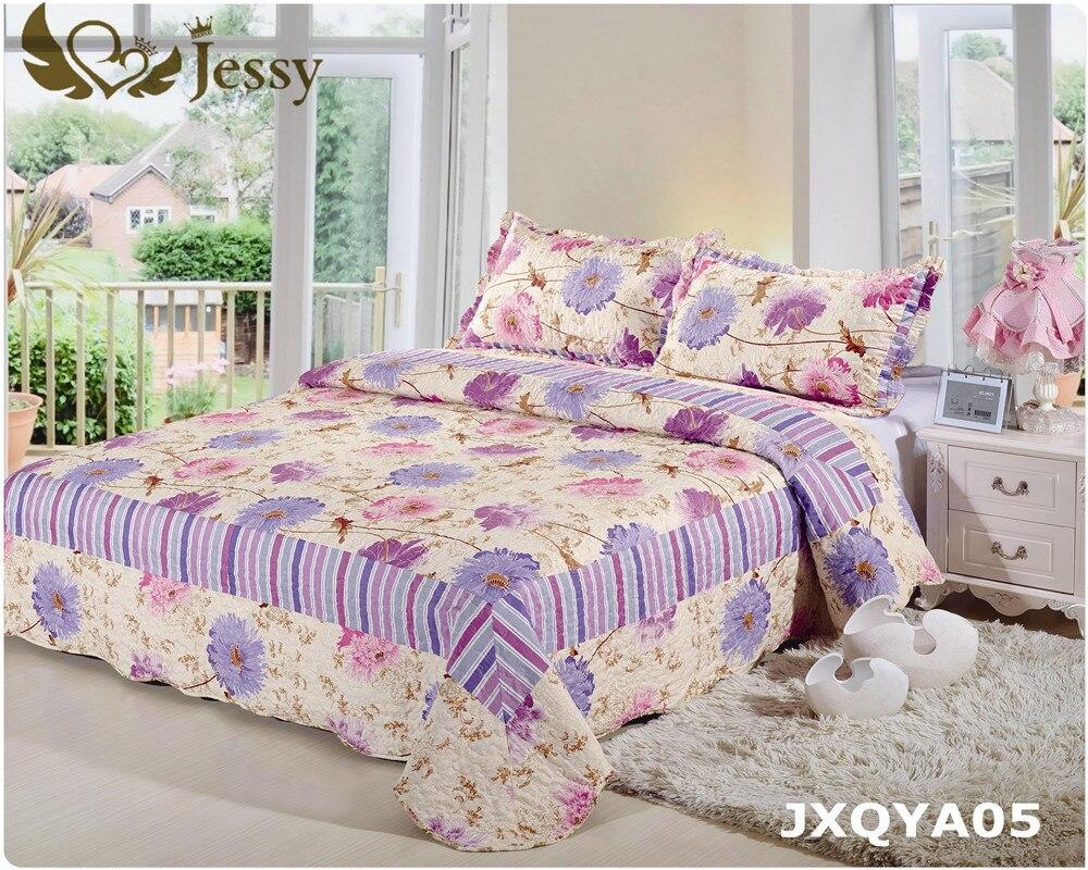 new european quilted coverlet set queen flower printed comforter bedding set bed patchwork quilt bedspreads 200