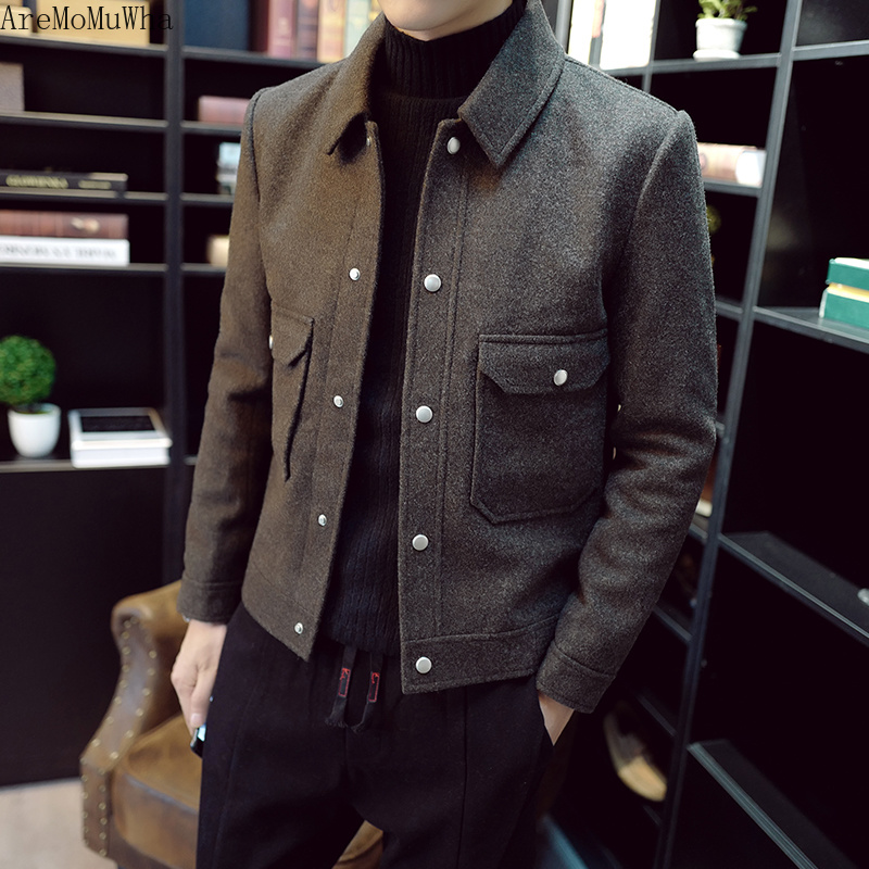 AreMoMuWha 2019 Autumn Winter Woolen Coat Male Korean Version of The Trend of Handsome Short Fashion Pure Color Jacket Lapel