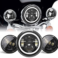"7"" Inch LED Projector Daymaker Headlights With White Halo + 4.5 inch Passing Lights Fit Harley Touring"