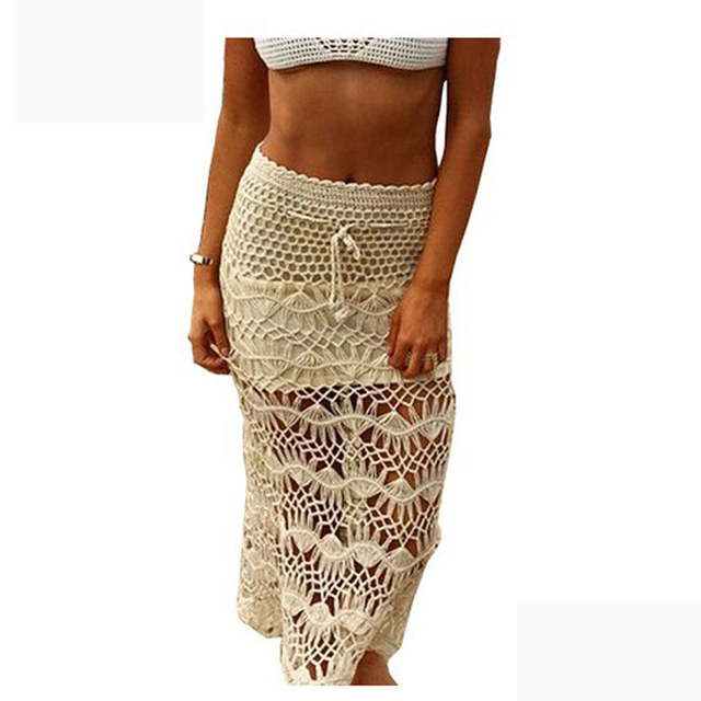 Hot Women Lace Skirt Women Swimsuit Coverup Beach Skirt Long Lace