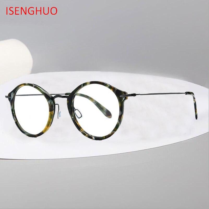 Acétate B titane lunettes cadre femmes 2019 rétro Vintage rond Prescription lunettes hommes optique lunettes corée lunettes