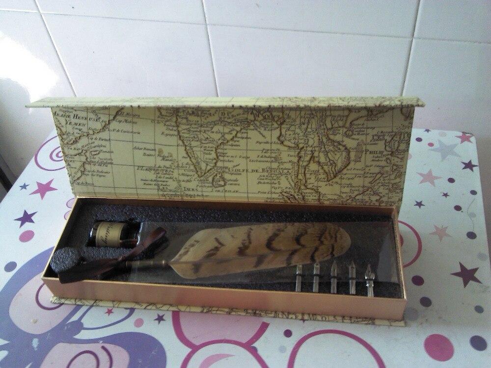 Plume de hibou naturel plume stylo Vintage avec boîte-cadeau