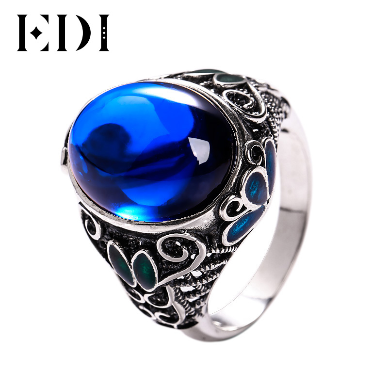 EDI 100% 925 Sterling Silver Blue Sapphire Cloisonne Women Ring Vintage Trendy Sterling Silver Jewelry Rings for Valentine's