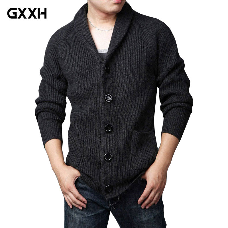 Autumn and winter New Men s Thick Sweater Knit Collar Men s Lapel size M L