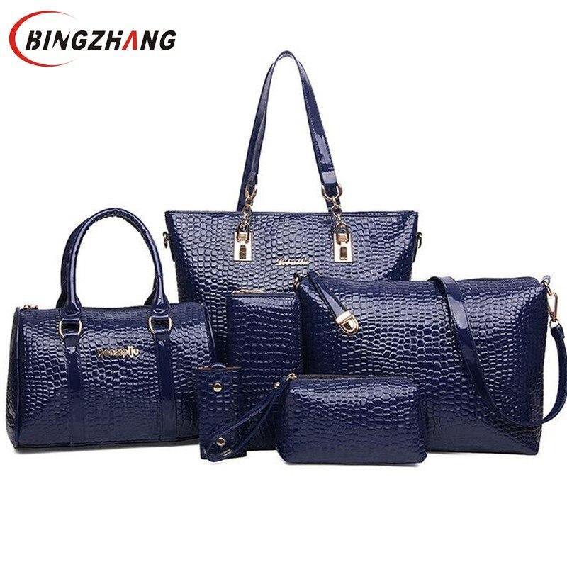 Shoulder Crossbody Bag new crocodile bags pu leather bag 2Handbag+Messenger Bag+Purse+Wallet 6 PCS/Set L4-671 2015 new car model bag handbag purse bag pu leather travel bags