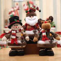 Hot Sale Santa Claus Snow Man Reindeer Doll Christmas Decoration Xmas Tree Hanging Ornaments Pendant Kids