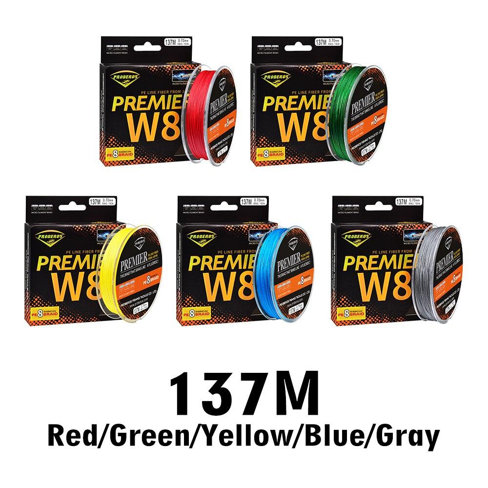 137M Fishline 8 örgü olta 8 örgülü hattı mevcut 15LB-100LB PE hattı yeşil/gri/mavi/sarı/Kırmızı