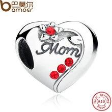 Bamoer auténtica plata de ley 925 encantos ajuste pulseras del regalo del día de madre mamá corazón rojo scc004