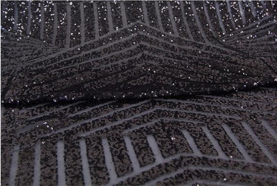 Tissu de paillettes noires, accessoire de photographie de mariage, tissu de paillettes de luxe super 3 mètres