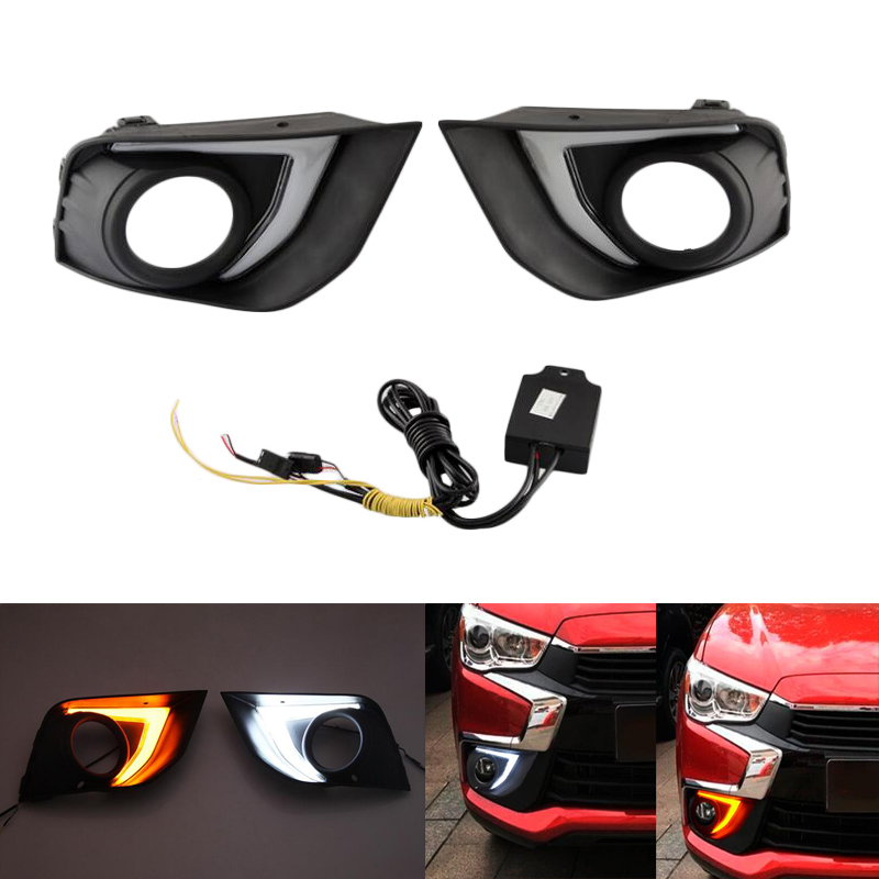 LED 12V Daytime Running Lights DRL For Mitsubishi ASX 2016 2017 ABS Fog Lamp Cover With Yellow Turn Signal Light Car Flashing 12v car led drl daytime running light fog lamp cover with turn signal light for hyundai elantra 2016 2017