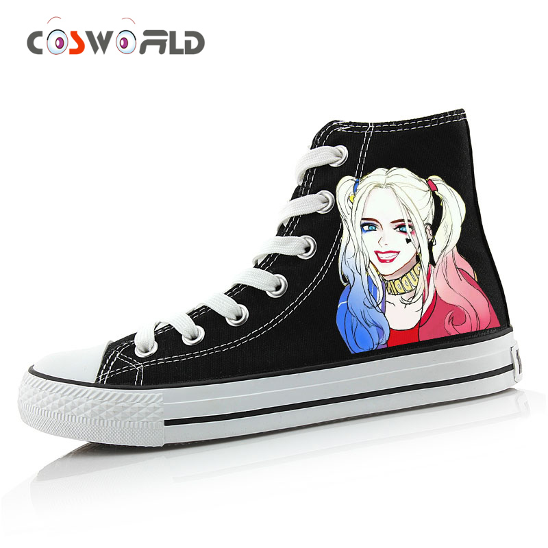 Cosworld Suicide Squad Canvas Shoes Women Casual High Top Star Flat ShoesPrinting Shoes Harley ...