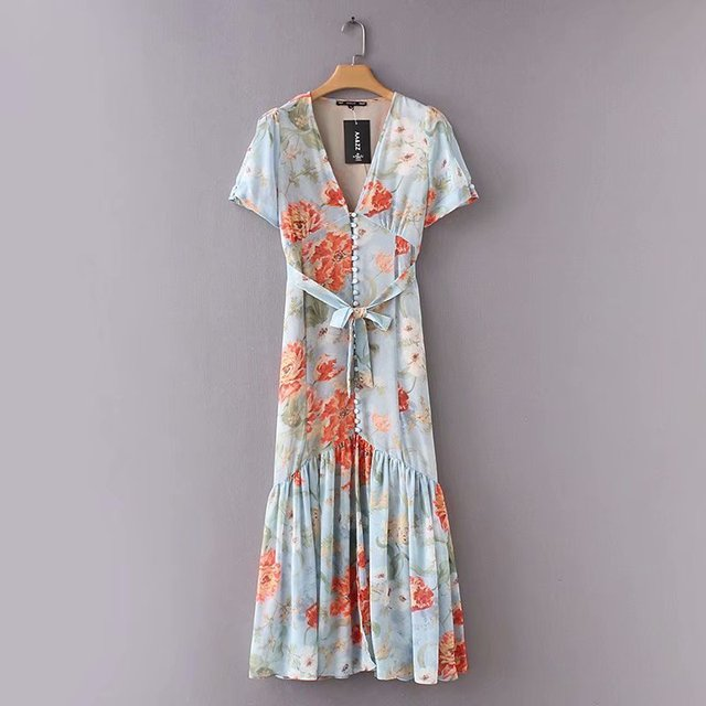 9fecad1eb29e 2018 women vintage v neck buckle printing chiffon midi dress female pleated  ruffles vestidos summer style sashes bow dress DS848