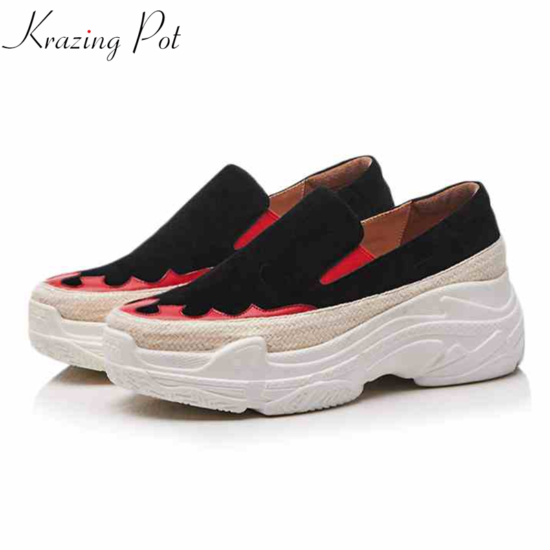 Krazing Pot sheep suede round toe sneaker vintage ruffles totem causal women thick bottom leisure female vulcanized shoes L26