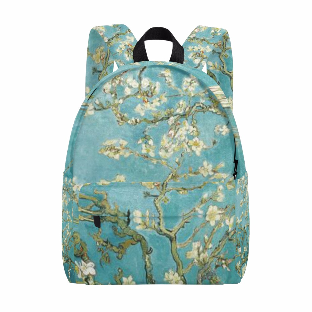 Men Backpack Almond Blossom by Van Gogh for Women New Zipper Backpacks School Backpack for Children Rucksack 14Inch Laptop Bag 10pcs free shipping0177 yipan c14 lace brim ear cat straw leisure cap men women baseball hat wholesale