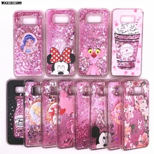 Liquid Case for Samsung Galaxy S5 S6 S7 S7edge Edge S8 S9 Plus Note8 Note 8 Minnie Mickey Bottle Leopard Ice Flowers Cover