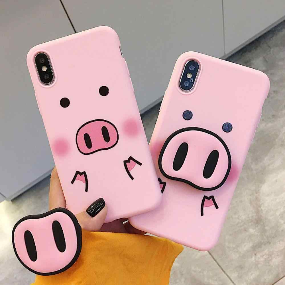 timeless design 78963 12089 Cyato Pink Pig Case For iPhone X Case Silicone Stand Holder Phone ...