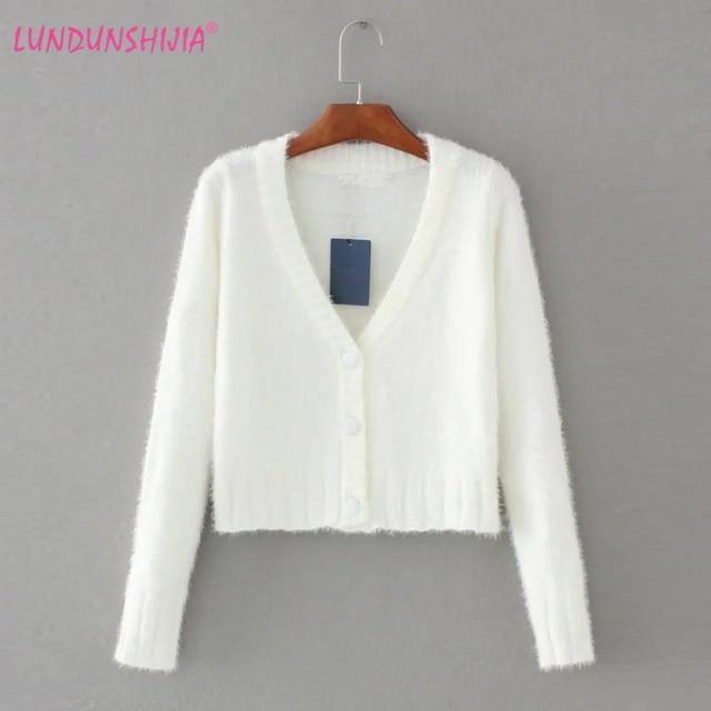 01f5c9bb08 LUNDUNSHIJIA 2017 Cardigan Sweater Women Cashmere V-neck Fashion Super Short  Style Design Black White Plush Sweater Woman