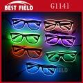 Frete grátis Brilho Fio El Óculos de Sol DJ Levou Brilhante Segurança luz de controle de Voz led piscando Light Up Multicolor Quadro óculos