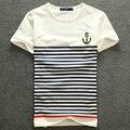 Новый модный бренд Топ мужской белые мужская одежда тенденция лето Хлопок O-образным Вырезом Повседневная Вмс Полосой Вышивка тонкий футболку