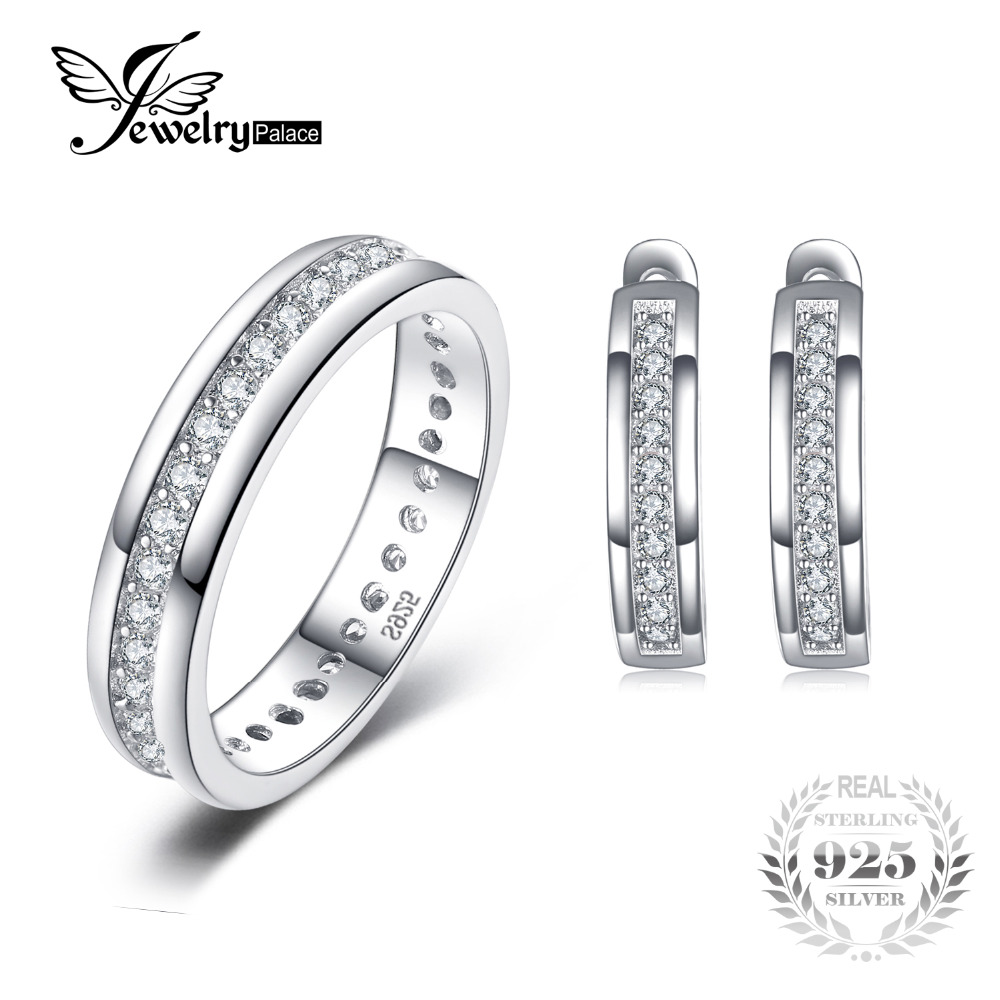 Jewelrypalace Classic Engagement Band Ring Earring 925 Sterling Silver Wedding Jewelry Set Classic 925 Fine Jewelry For Women [black awn] 925 sterling silver fine jewelry set trendy engagement wedding necklace earring for women pt161