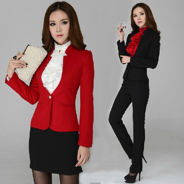 0417f1d5d2bd7 US $41.33 12% OFF|New Autumn Winter Ladies Business Sets Pants Suits  Professional Work Wear Form Suits Women Career Outerwear Plus Size XXL-in  Pant ...