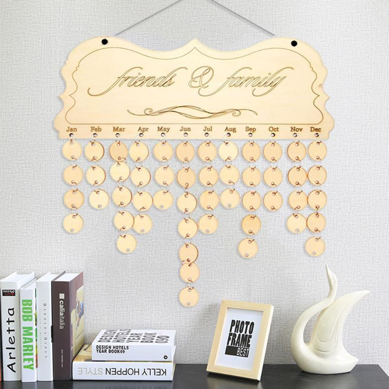 VODOOL Hot DIY Fashion Wooden Birthday Calendar Family Friends Sign Special Dates Planner Board Hanging Decor Gift Decorate Home new diy wooden wall hanging calendar family friends birthday special dates reminder sign planner mark board home decor gift