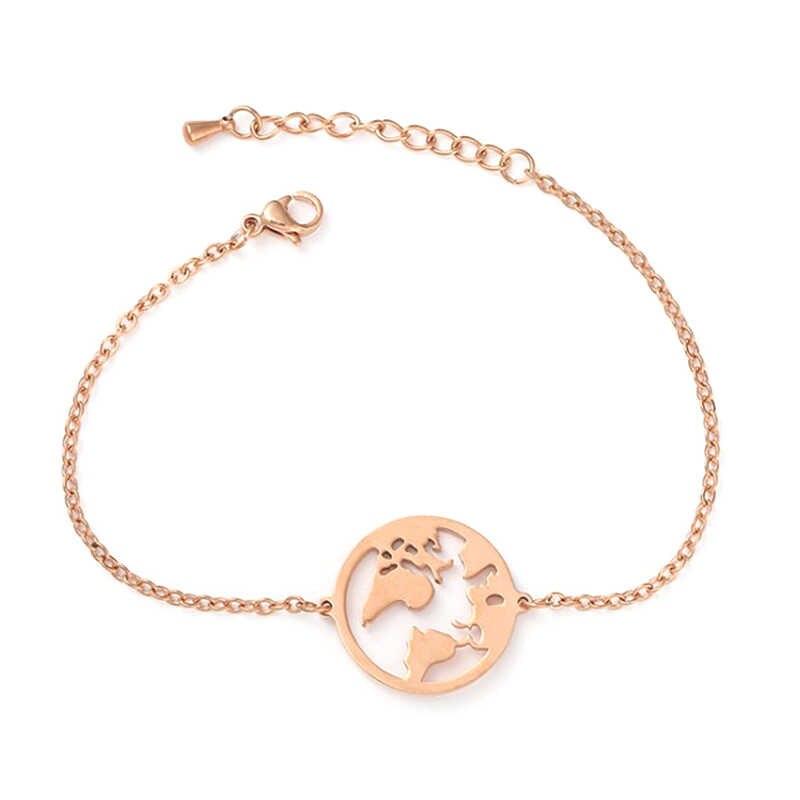 แฟชั่นทอง/Silver/RoseGold World แผนที่จี้สร้อยข้อมือสร้อยข้อมือสร้อยข้อมือสแตนเลสสตีลสำหรับ charm ผู้หญิงสร้อยข้อมือ