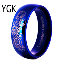 Tungsten Carbide Men's Blue Dome Wedding Band Ring Doctor Who Design Ring for Women Comfort Fit Engagement Band Party Ring