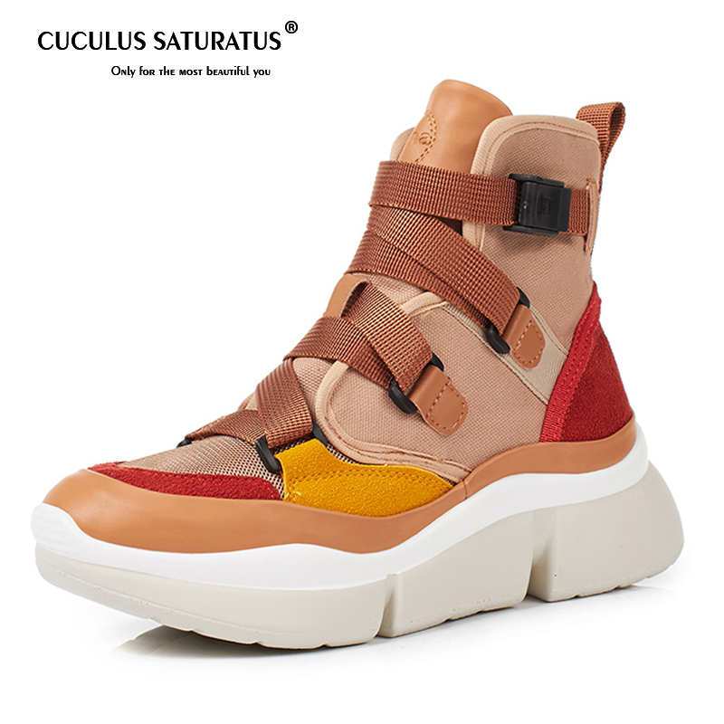 Cuculus Cross-tied Women Ankle Boots Slip on Platform Motorcycle Ankle Boots Winter Wedges Shoes Woman 2 Colors 567Cuculus Cross-tied Women Ankle Boots Slip on Platform Motorcycle Ankle Boots Winter Wedges Shoes Woman 2 Colors 567