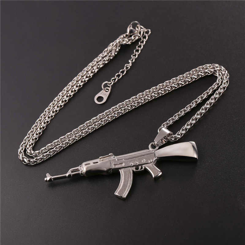 U7 Hip Hop Jewelry AK47 Assault Rifle Pattern Necklace Gold Color Stainless Steel Cool Fashion Pendant & Chain For Men P1046