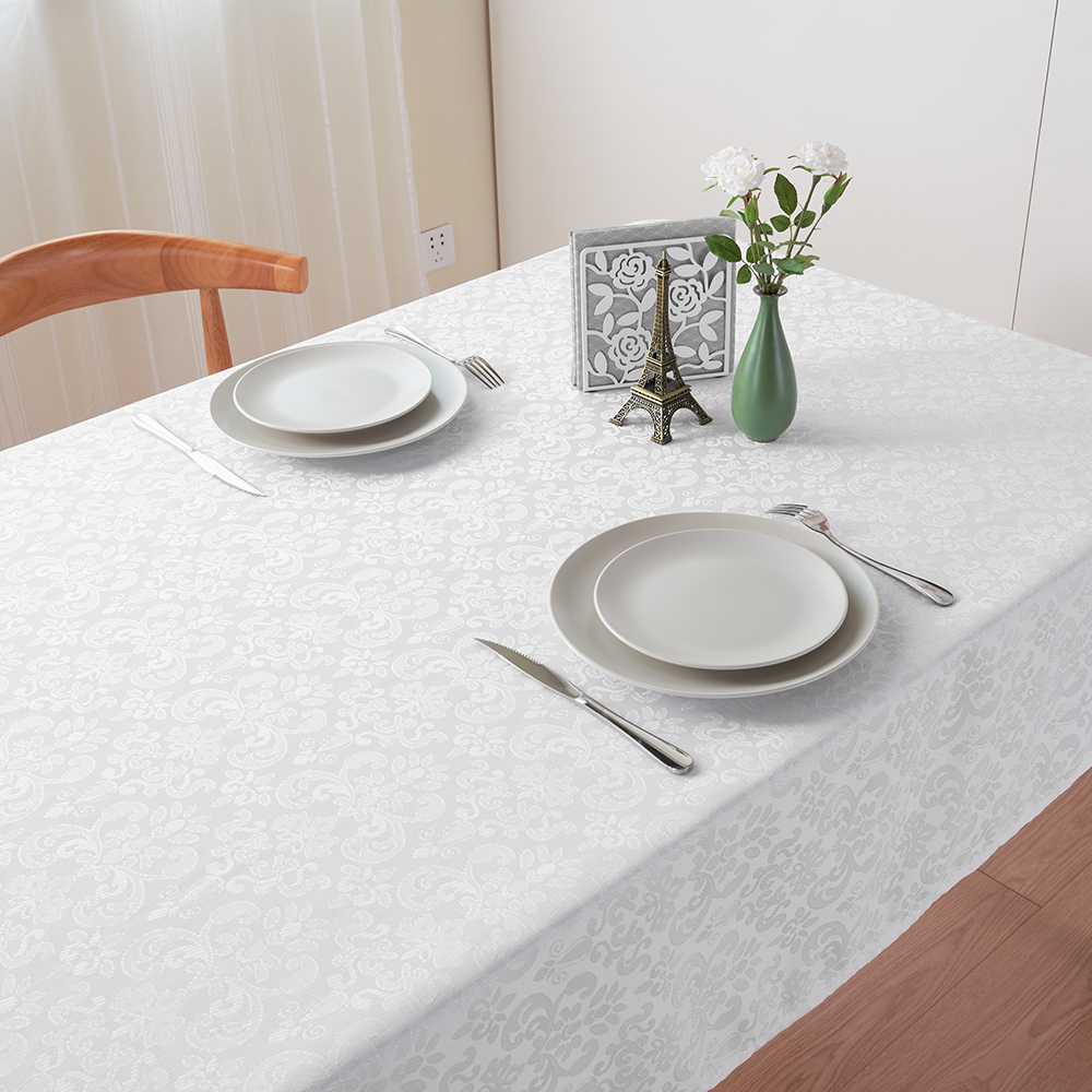 220 X 140cm Tablecloth White Rectangle Dinner Tablecloth