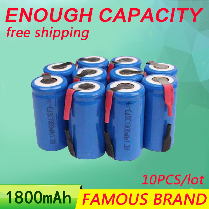 Golooloo 10Pcs/Lot 1800mAh Sub C SC NI-CD NI CD NI-CD nicd 1.2V Rechargeable Batteries Battery