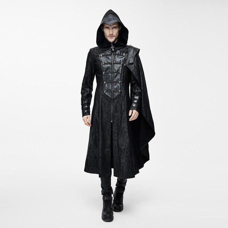 Steampunk Men's Cross Zipper Hooded Detachable Cloak Sleeve Coat Dark Inelastic Stiff Leather Fabric Thick Warm Black Overcoats