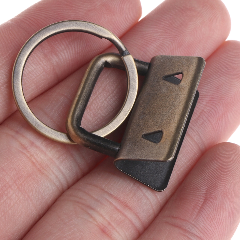 10Pcs Key Fob Hardware 25mm keychain Split Ring For Wrist Wristlets Cotton Tail Clip in Buckles Hooks from Home Garden