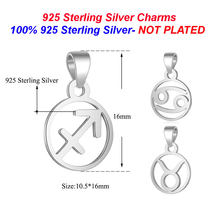 100% 925 Sterling Silver Zodiac Charm Pendants Vnistar Horoscope Icons Charms for Women Necklace Making Pendants Wholesale(China)