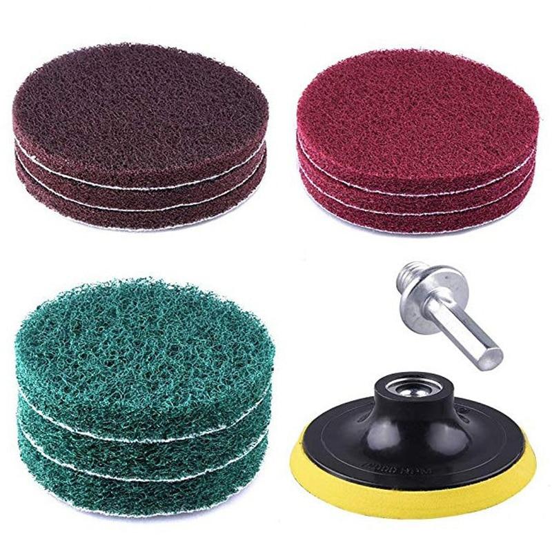 8pcs/Set 100 * 65mm Polishing Scouring Pad Power Scrub Pads Cloth Kit 1/4