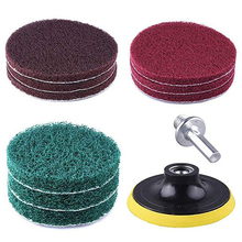 """8pcs/Set 100 * 65mm Polishing Scouring Pad Power Scrub Pads Cloth Kit 1/4"""" Hex Shank For Cleaning Surfaces Cordless screwdrivers"""