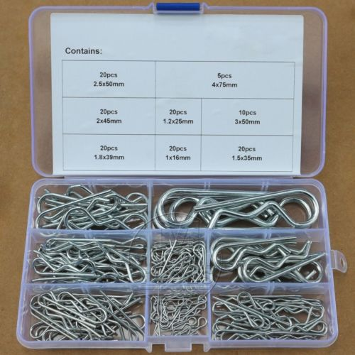 135Pcs Industrial R Pins Mechanical Hitch Hair Pin Tractor Clip Assortment Kit
