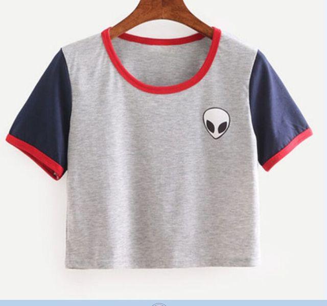 bc1f8baa7 3D Print Aliens Crop Top Short Sleeve Loose Type T-Shirt Women Teenagers T- shirts Summer Women Tops 12 Colors