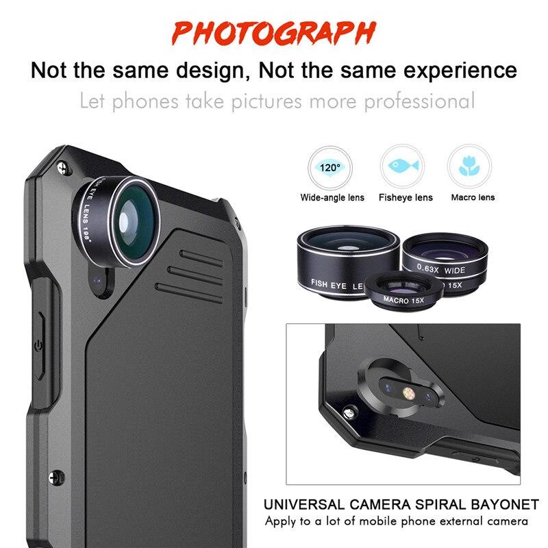 3 in 1 Camera Lens Fisheye Wide Angle Macro Lens For Apple iPhone X 8 8Plus 7 7 Plus 6 6S 6plus 5 5S se Aluminum allo Phone Case