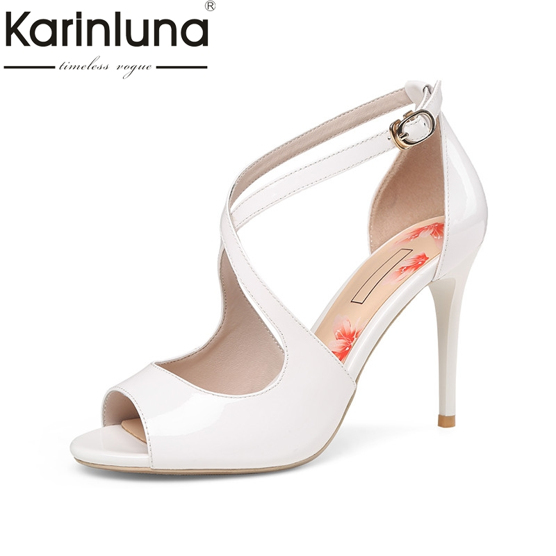 Karinluna 2018 Summer Elegant Women Ol Sandals Genuine Leather High Heels Shoes Woman Lady Peep Toe Cool Daily Shoe Size 34-39 handmade genuine leather sandals women shoes lady high quality 2017 summer red silvery closed toe medium heels big size 10 41 42