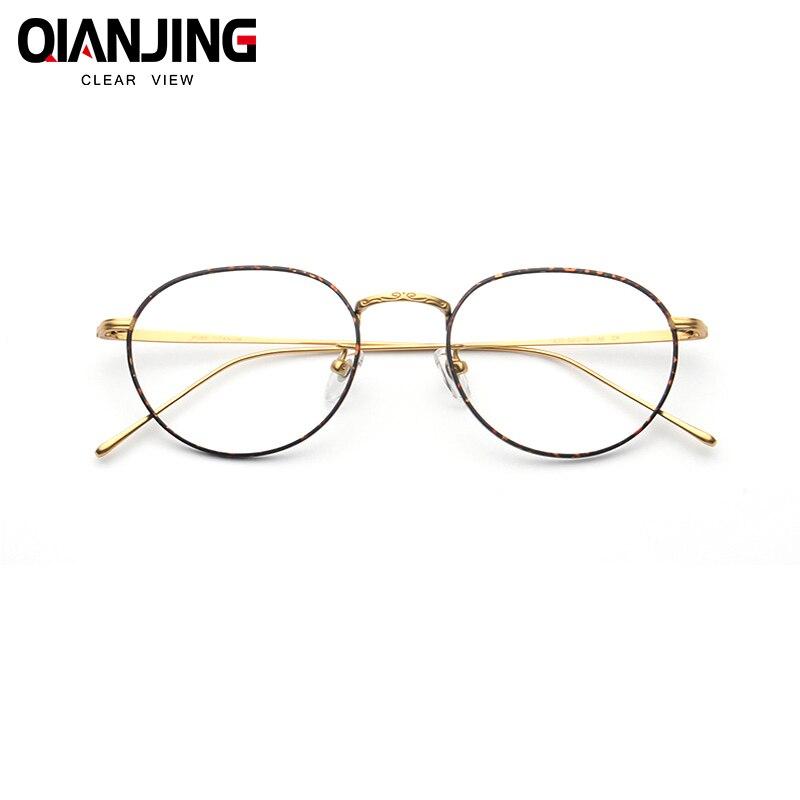 3926dc2e61 Detail Feedback Questions about QIANJING Fashion Titanium Aviation Gold  Clear Lens Glasses Frame Women Retro Eye glasses Frames for Prescription  Men ...