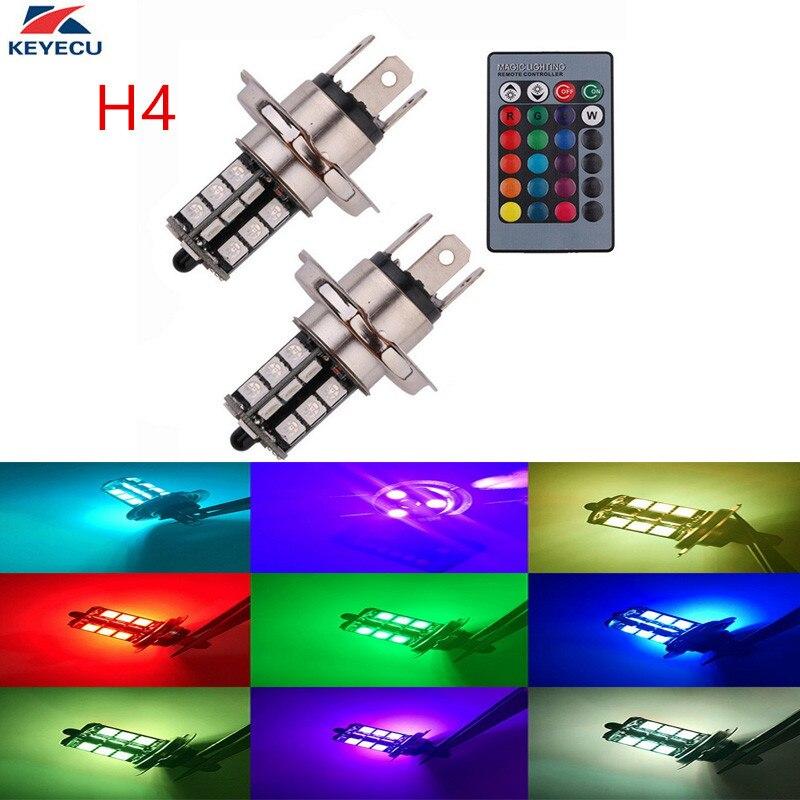 Keyecu 2 Pezzi H4 12 V 5050-smd Multi-color Rgb Led Lampadine Del Rimontaggio Per I Fari O Driving Luci Con Telecomando In Molti Stili