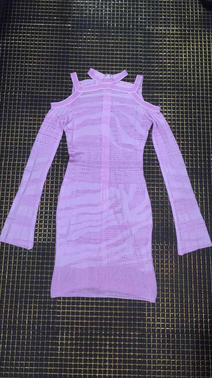 Las Nuevas Vestidos De Jacquard Púrpura Noche Celebridad O Hueco 2019 Fiesta Manga Punto Vestido Mujeres Larga Vendaje cuello dBw5Znq