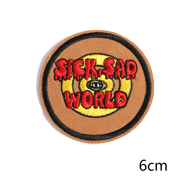 1PC Patches For Clothing Badge Patches SICK SAD WORLD For Apparel Bag DIY Accessories