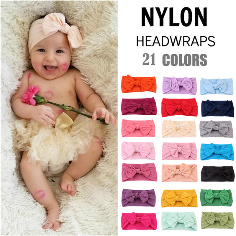 Cute Bows Baby Headband Solid Color Elastic Newborn Baby Girl Headbands Nylon Infant Baby HairBand Baby Hair Accessories