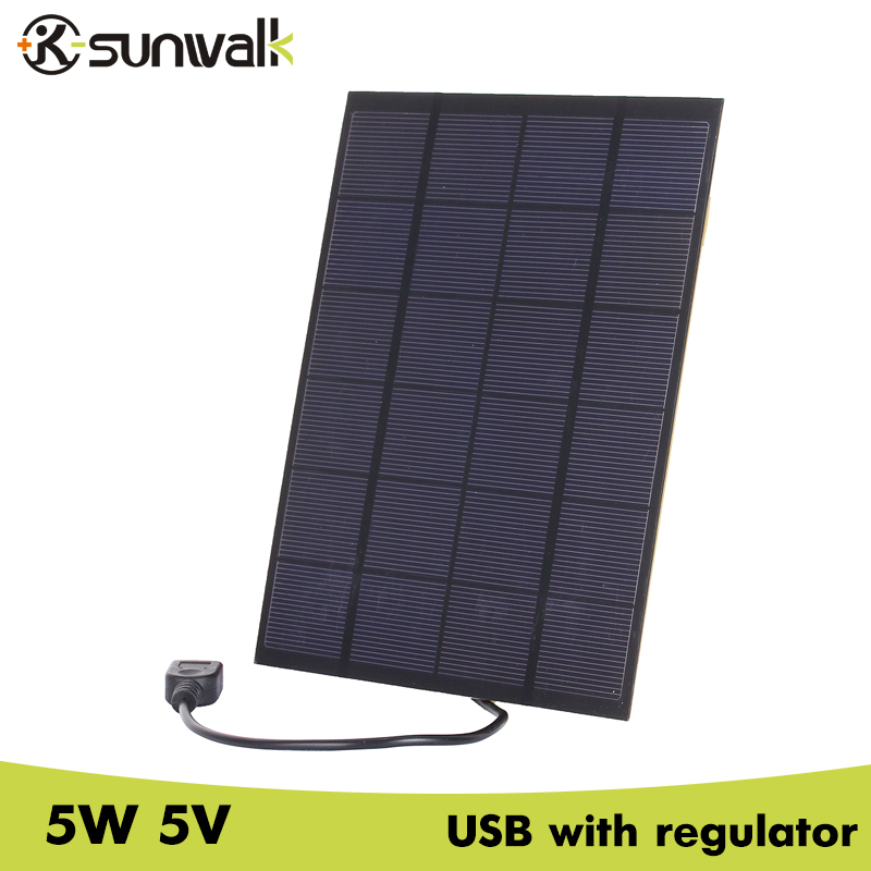 SUNWALK 5pcs 5W 5V Solar Cell Panel Charger USB Output 830mA Portable Solar Charger for Mobile
