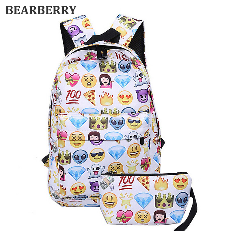 BEARBERRY 2017 2 PCS canvas Leisure  Travel Backpack Clutch Bag 3D Smiley Emoji Face Printing School Bag Teenagers Mochila MN265 emoji black 3d printing 2017 high quality women canvas backpacks smiley school bag for teenagers girls shoulder bag mochila